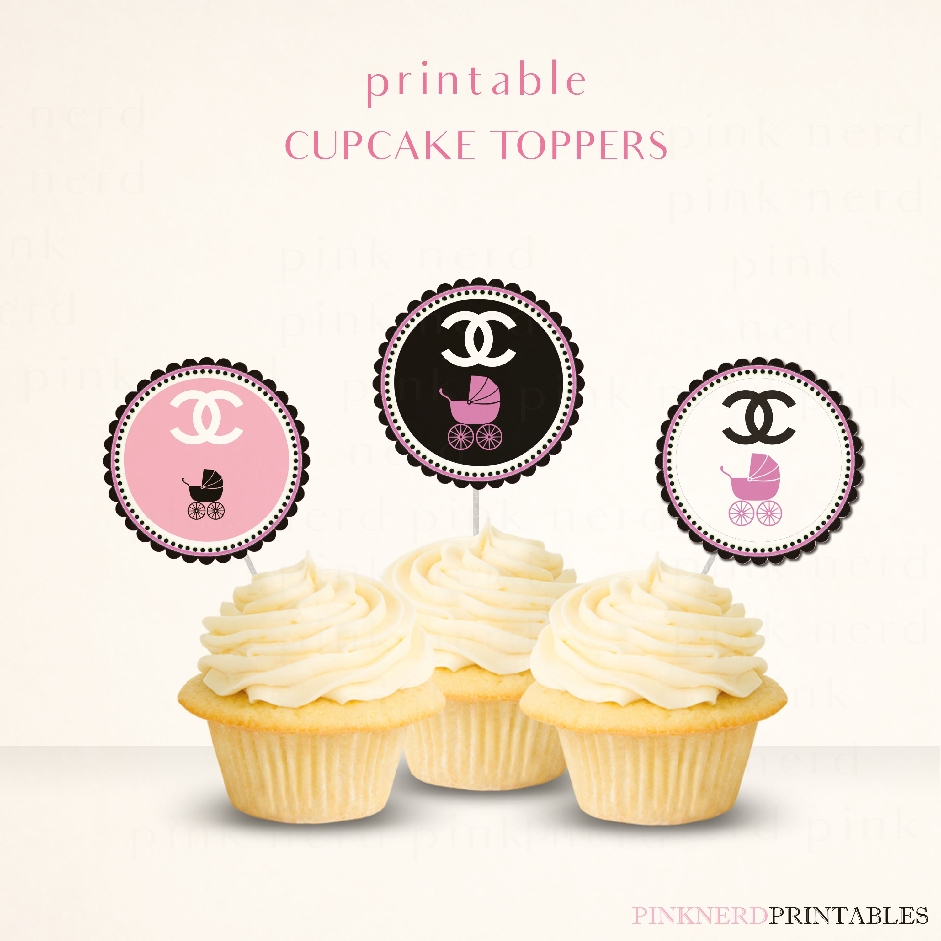 Chanel Baby Shower Cupcake Toppers Printables   Chanel Theme Party ...