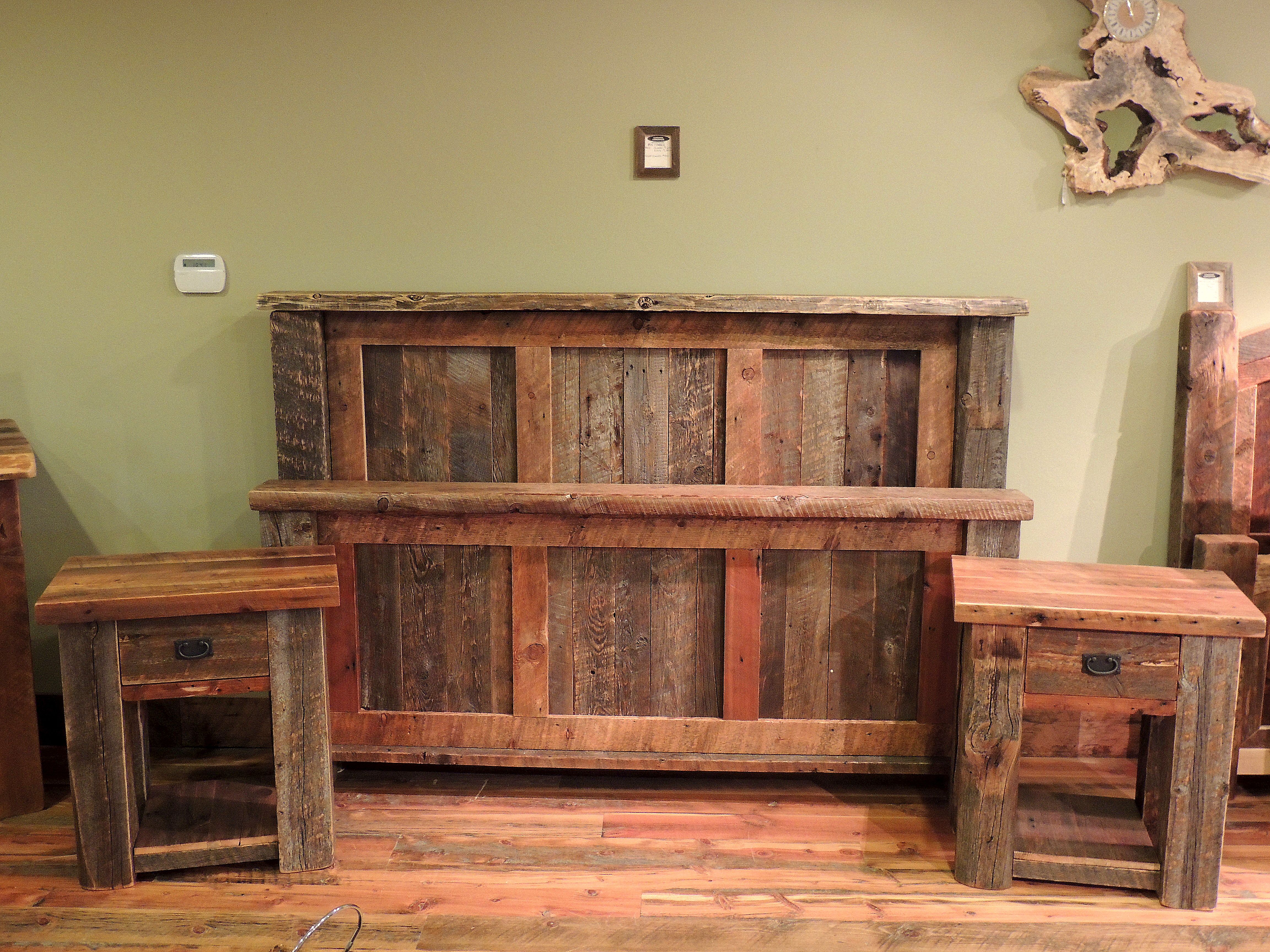 Big Timber Bed and Nightstands made with brown and grey