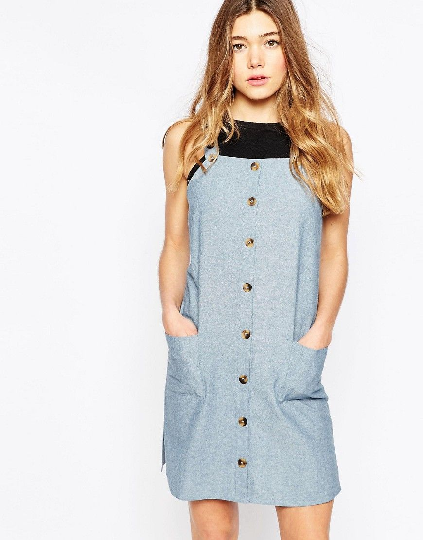 6fe24120bee Image 1 of Influence Chambray Midi Pinafore Dress