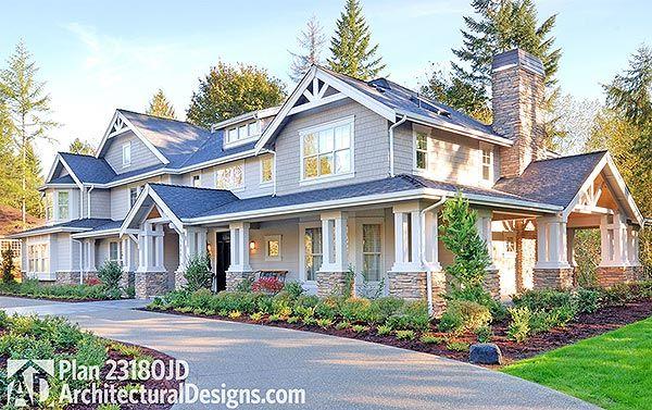 plan 23180jd: luxury craftsman house plan with options | rambler