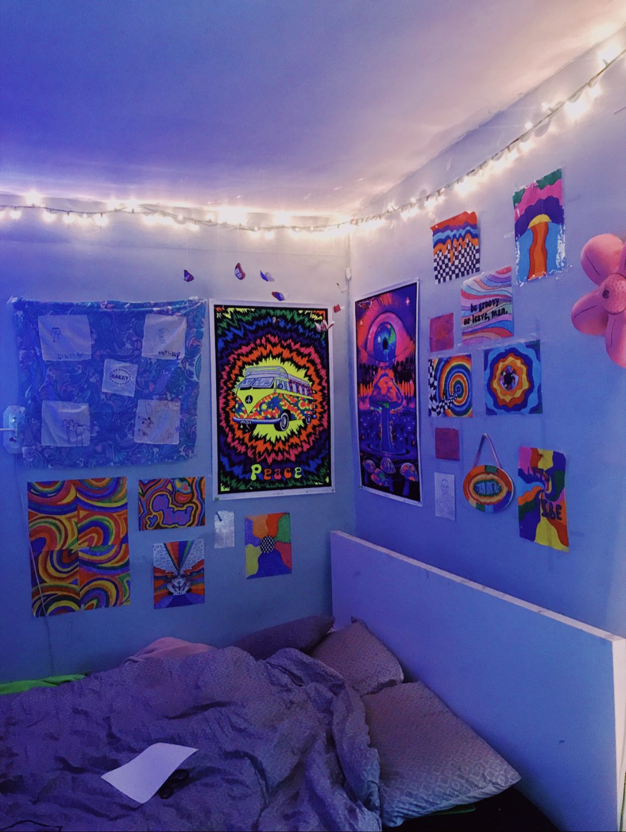 Trippy Room Small Bedroom Inspiration Psychedelic Decor Chill Room