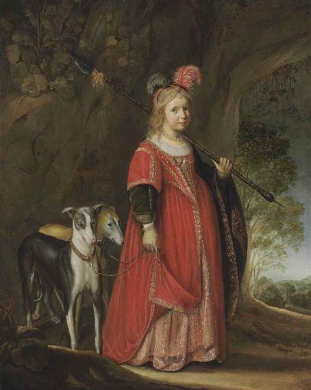 Govert Flinck - Portret van een jong meisje als Diana met twee windhonden