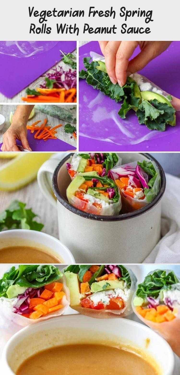 How To Make Vegetarian Fresh Spring Rolls With Peanut Sauce Also Called Vietnam Vegetarian Recipe In 2020 Fresh Spring Rolls Vegetarian Recipes Peanut Sauce