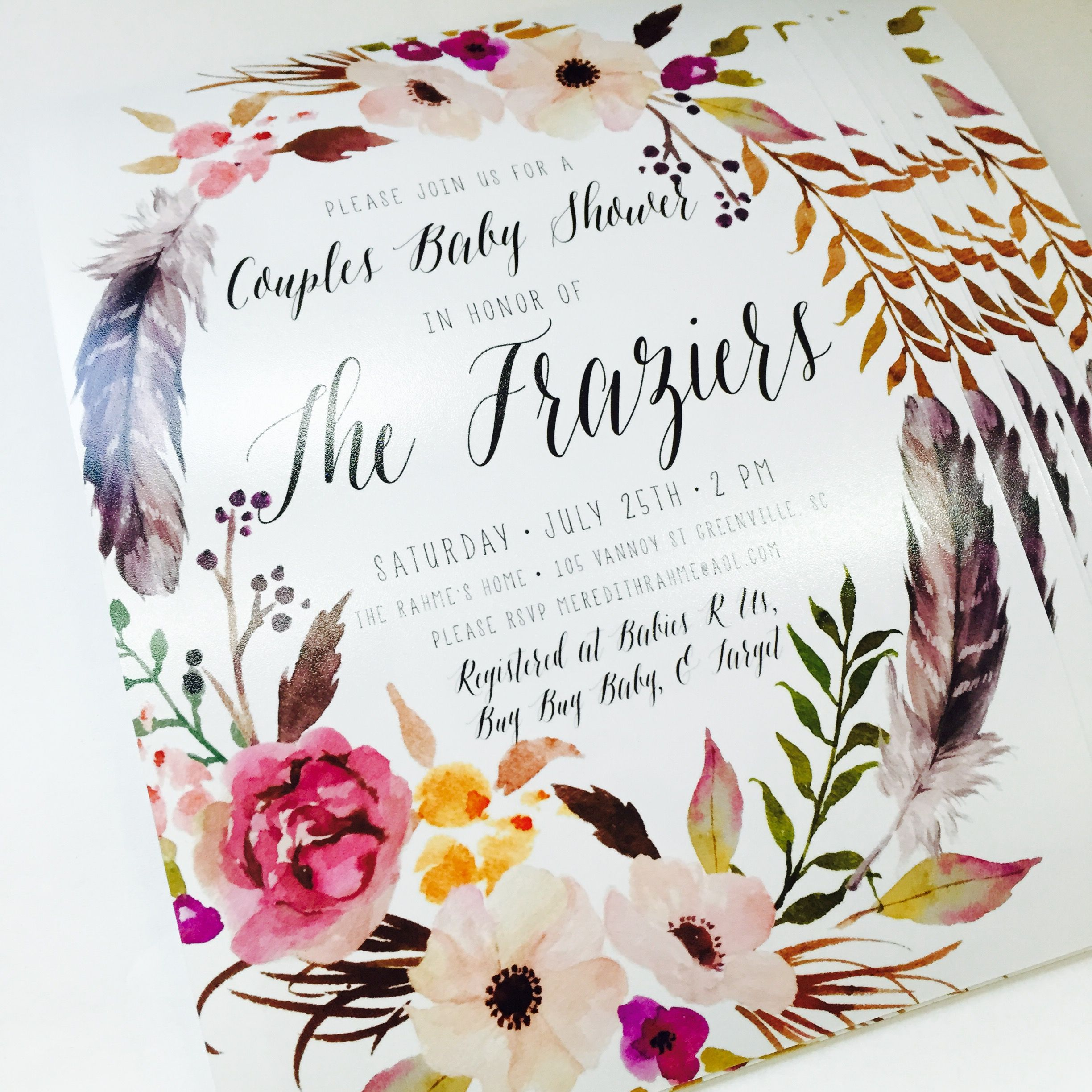 girl boho baby shower invitation feather flower printable 233