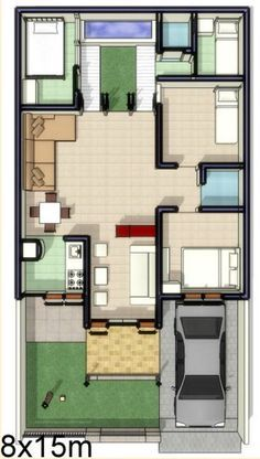 denah rumah minimalis 8x15 1 lantai inspiratif di 2019