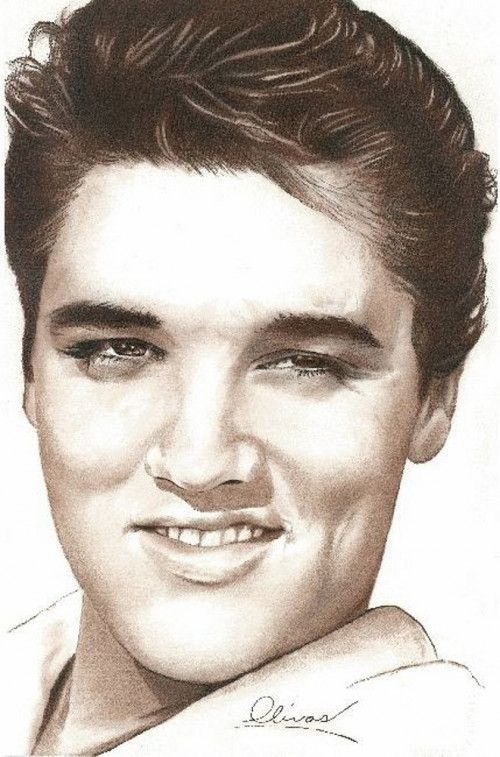 hand drawn Pretty Elvis by Bill Olivas
