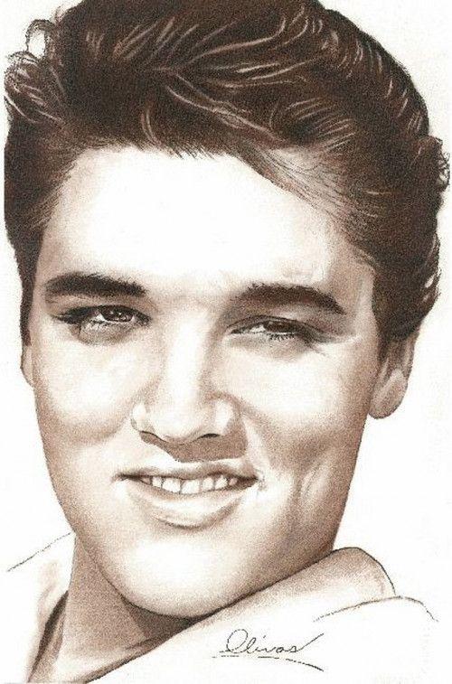 hand drawn Pretty Elvis by Bill Olivas