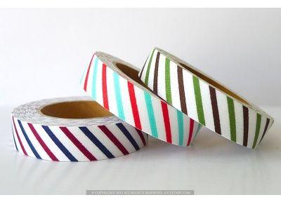 Diagonal Stripe Cotton Fabric Tape #fabrictape