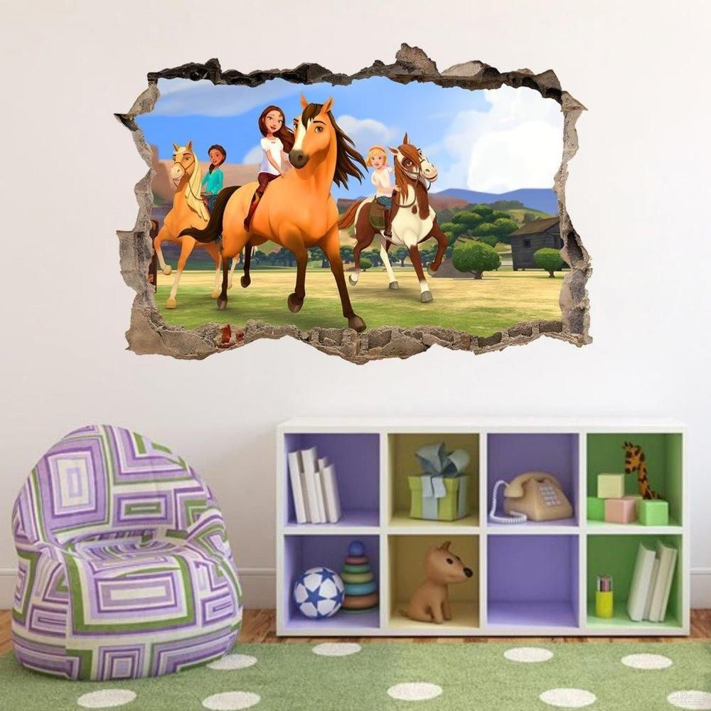 spirit riding free 3d smashed wall sticker decal art mural on wall stickers 3d id=35840