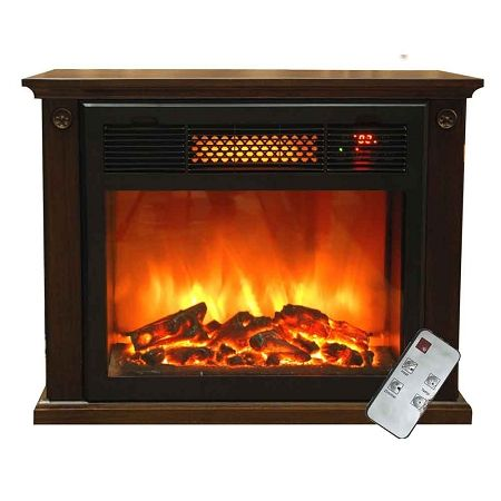 SUNHEAT 19 in. 1500-Watt Compact Infrared Fireplace Electric ...