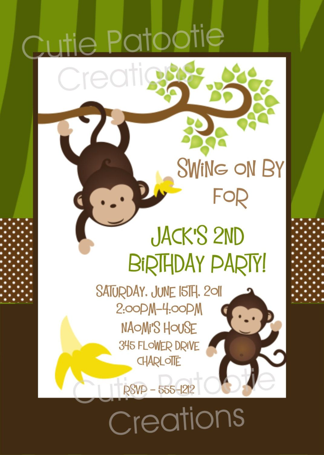 Monkey Birthday Invitation Monkey Birthday Party Invitation