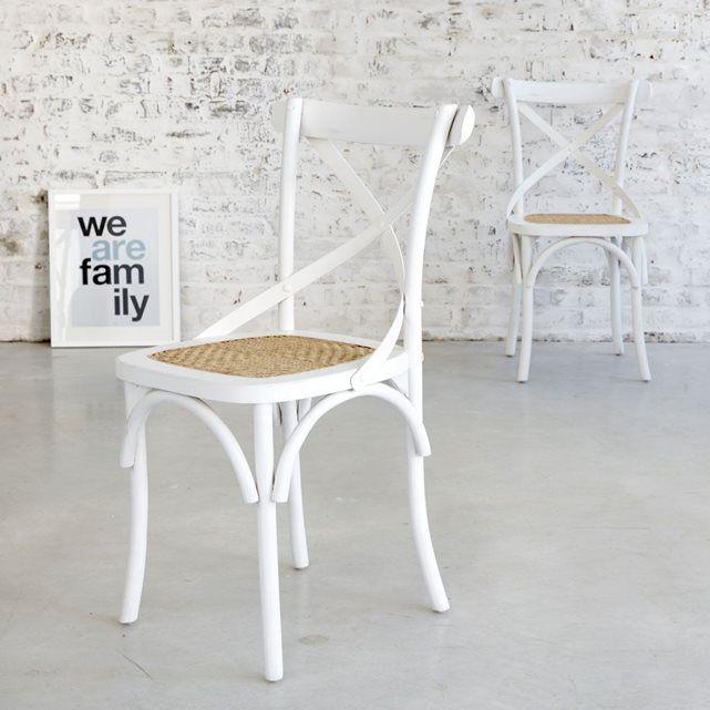 Chaise bistrot en acajou et rotin Coloris Blanc LONDRES