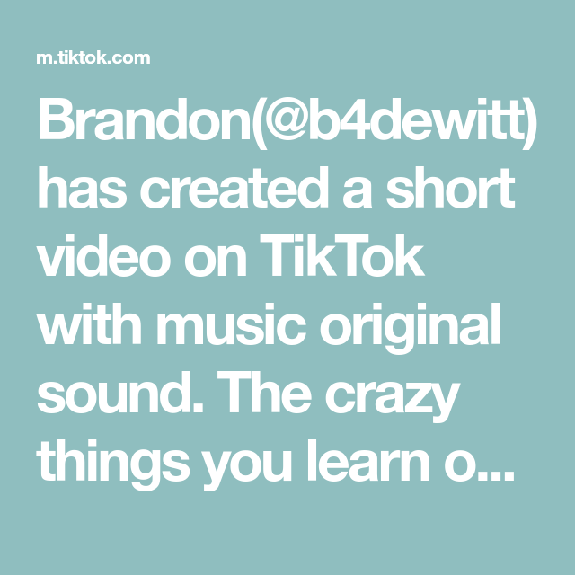 Brandon B4dewitt Has Created A Short Video On Tiktok With Music Original Sound The Crazy Things You L In 2021 Most Viral Videos Funny Moments Fate Stay Night Series
