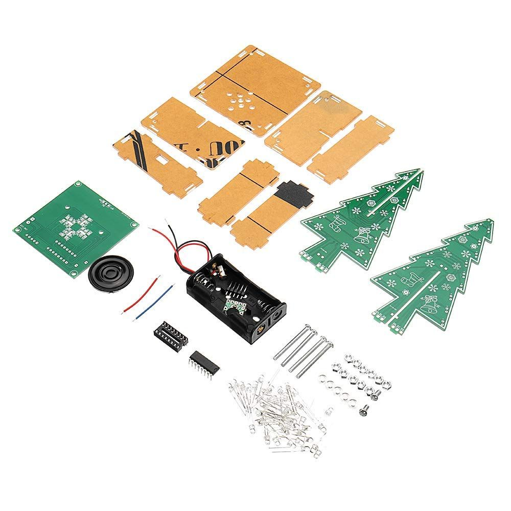 Zuiniubi Diy Led Flash Kit Colorful Light Acrylic Christmas Tree With Music Electronic Learning Kit Learn Led Diy Light Colors Indoor Christmas Decorations