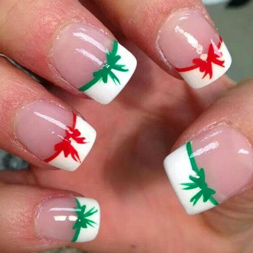 red,green,white,christmas,ribbon,french,manicure