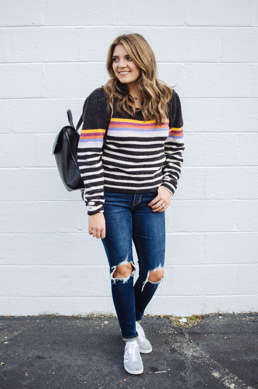 32549a91a8 stripe sweater outfit - how to wear a striped sweater