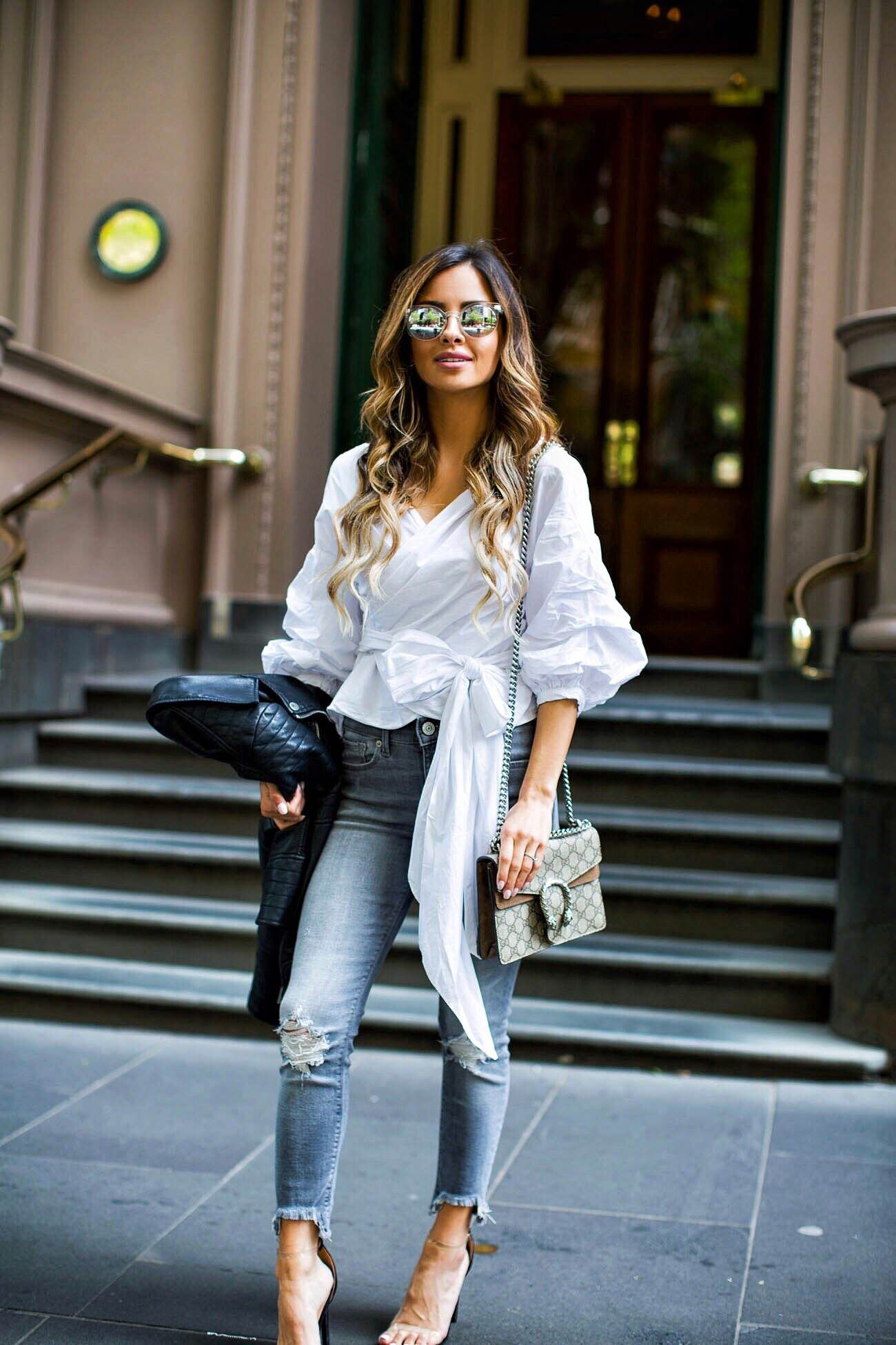 08a7edae780 Fashion blogger Mia Mia Mine wearing a white top and gray jeans from  express in Melbourne Australia