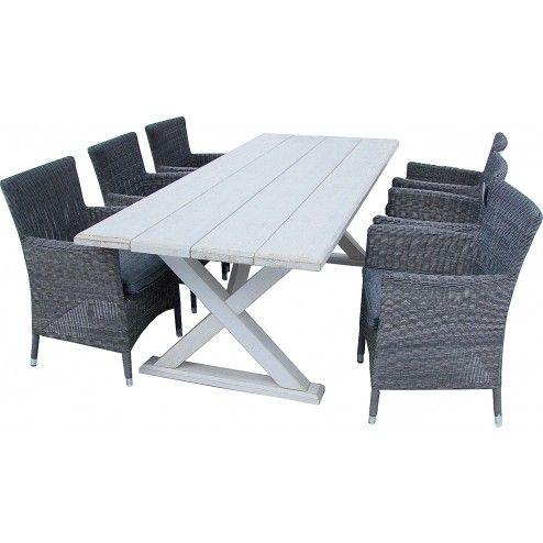 Willamo-ruokapöytä 220 x 92 cm + 8 Tosca-tuolia, mänty/polyrottinki