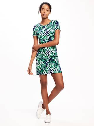 f160c22816b Old Navy Fitted Crew-Neck Tee Dress in Green Leaf Palm