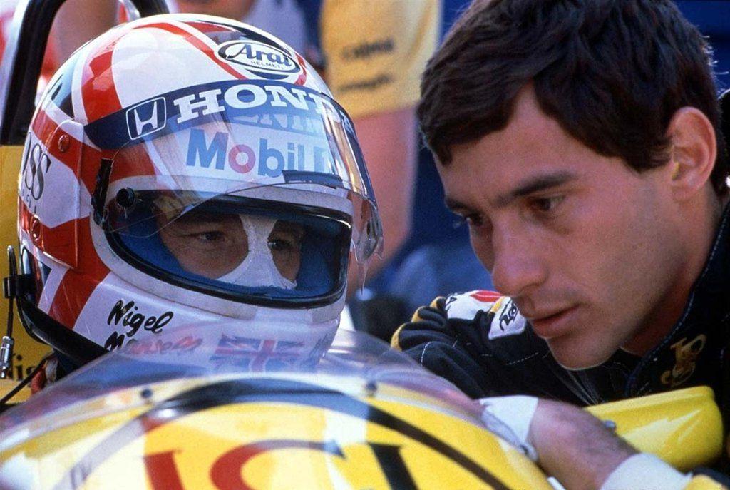 Nigel Mansell, Williams FW11 & Ayrton Senna,Lotus 98T. GP: Canadá 1986.
