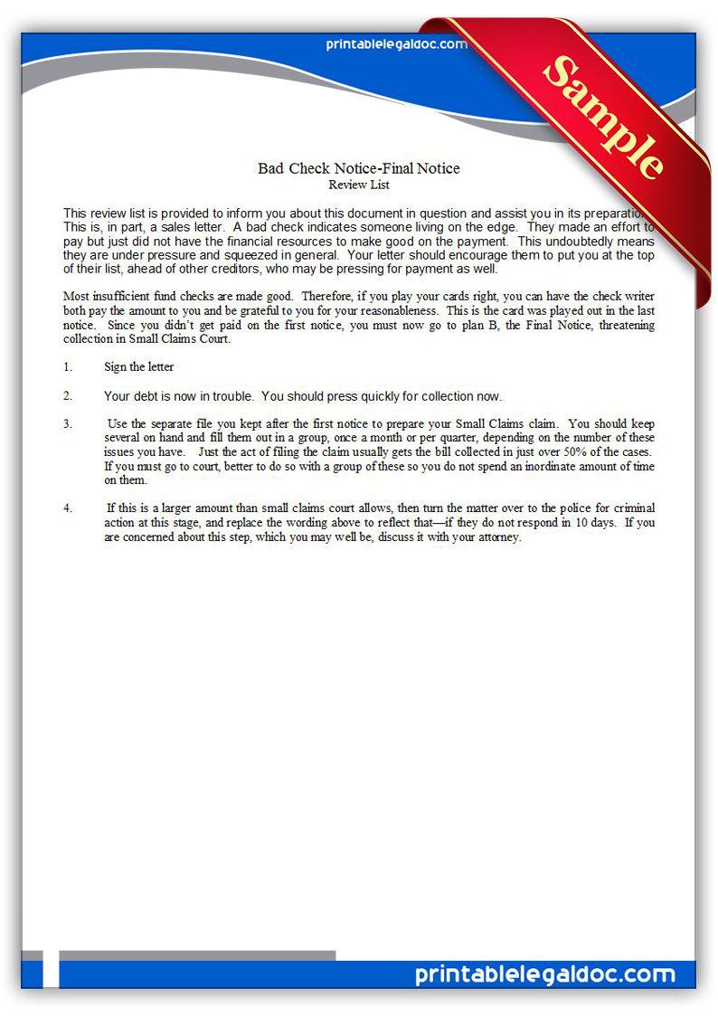 Free printable bad check noticefinal notice legal forms