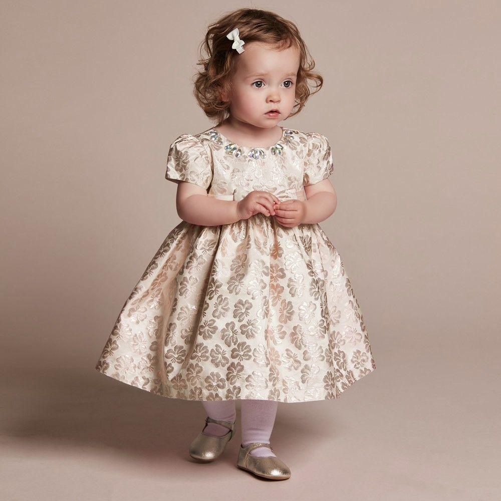 ad04a75790c7c Romano Princess - Baby Girls Gold Brocade Dress with Diamanté