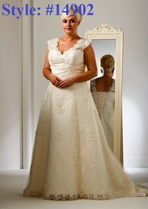 Straps Aline Plus size Beaded sash bridal gown#14902