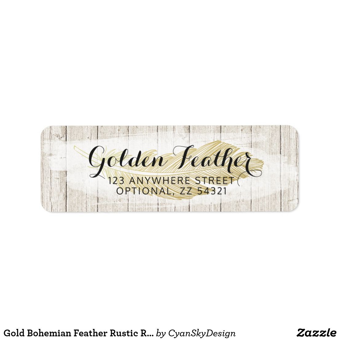 gold bohemian feather rustic return address label in 2018