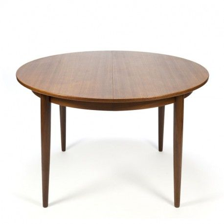 Vintage Danish Round Extendable Dining Table In Teak Round