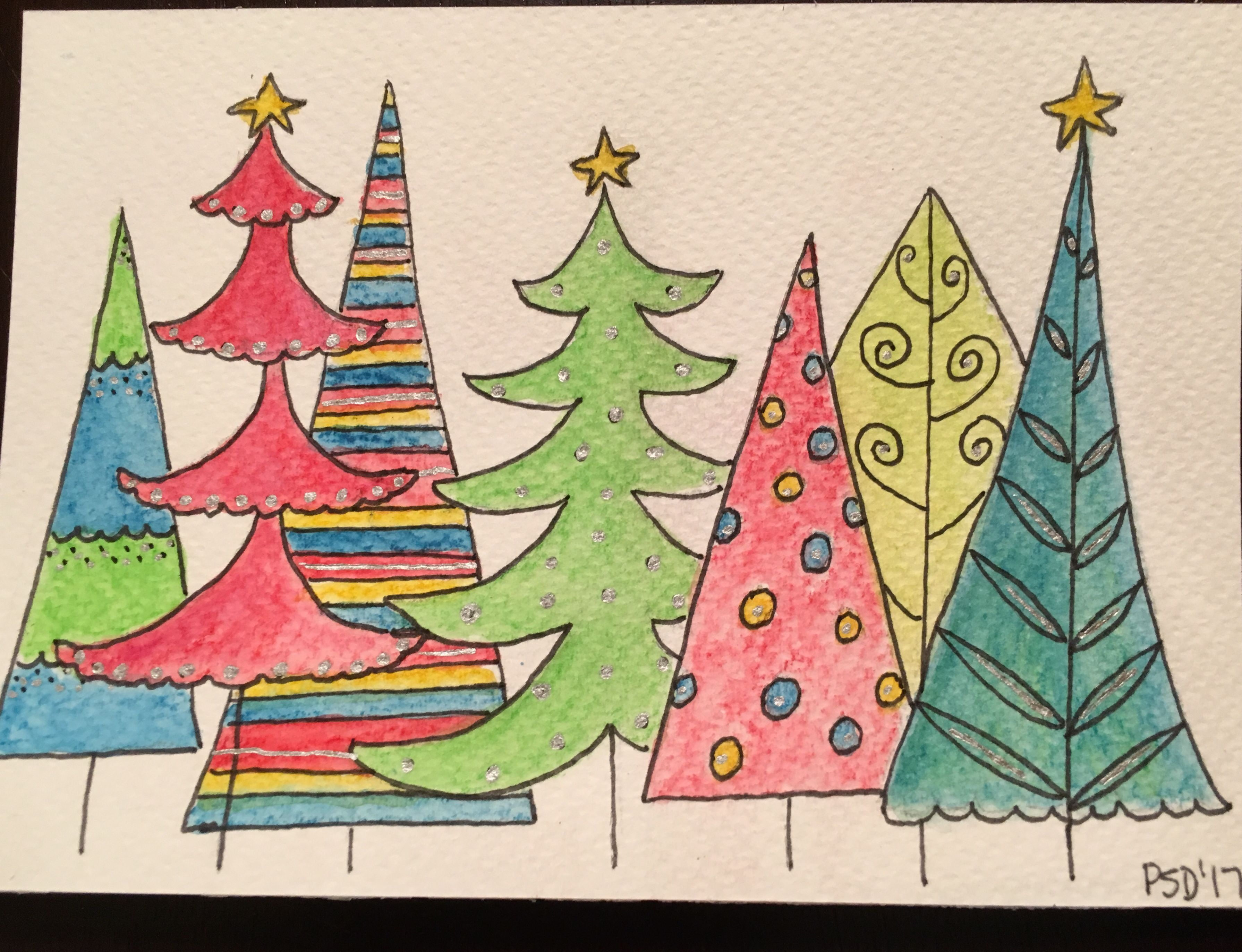 Christmas tree watercolor card based on a papyrus felt card ...