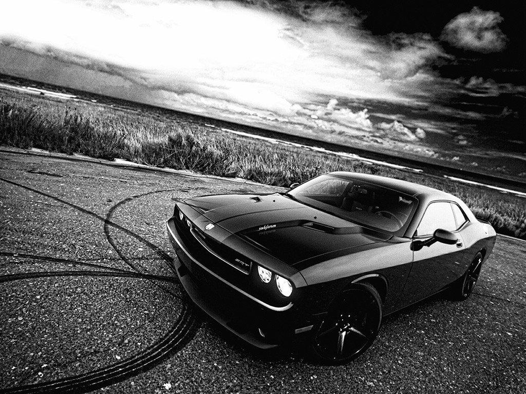 Dodge Challenger Dift Black And White Car Poster Dodge