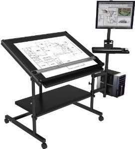 Professional Drafting Table 48 X 36 Black Frame Black Surface