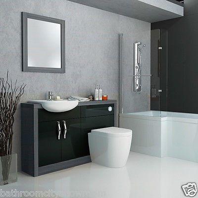 Good Bathroom Fitted Furniture 1200mm Vanity Cabinet Unit With WC Basin Grey  Black | Sinks | Bath
