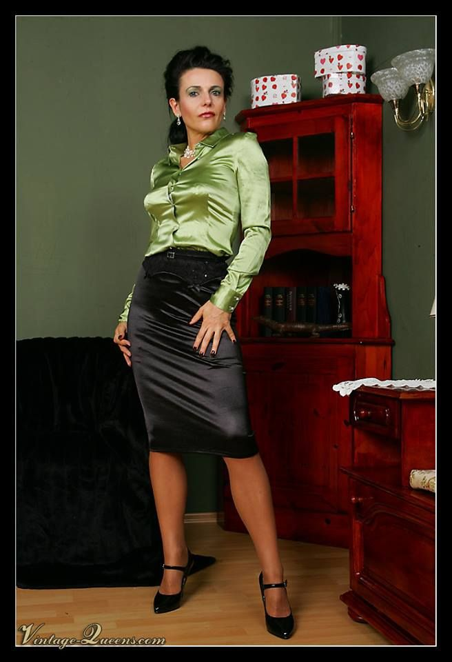 Satijnen silk satin blouse leather leren rok skirt - 3 7