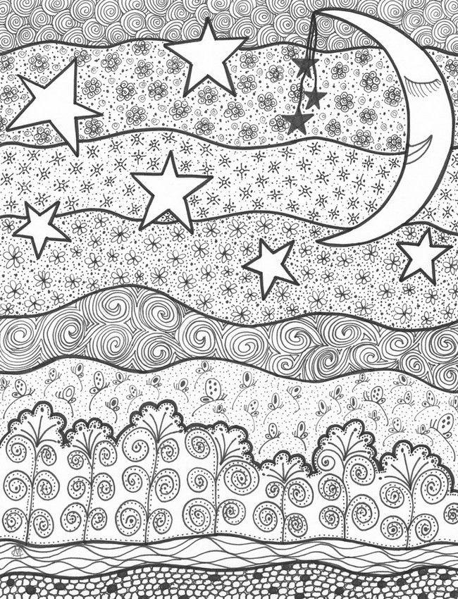 Noche estrellada | Doodles | Pinterest | Malbücher, Zeichnen und Muster