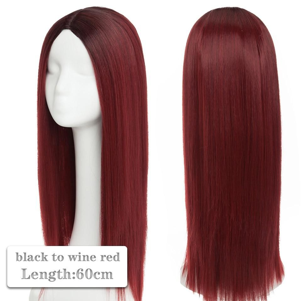 Photo of 60~80cm Cosplay Wig Long Wig Middle Part Hair Wig Cosplay Natural Wavy Heat Resistant Synthetic Wigs – black to wine red / 60-80CM / United States