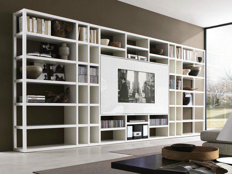 meuble TV bibliothèque en blanc neige, sol en béton ciré, peinture - peindre un meuble laque blanc