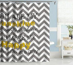 Amazon Com Uphome Grey And White Chevron Bathroom Shower Curtain
