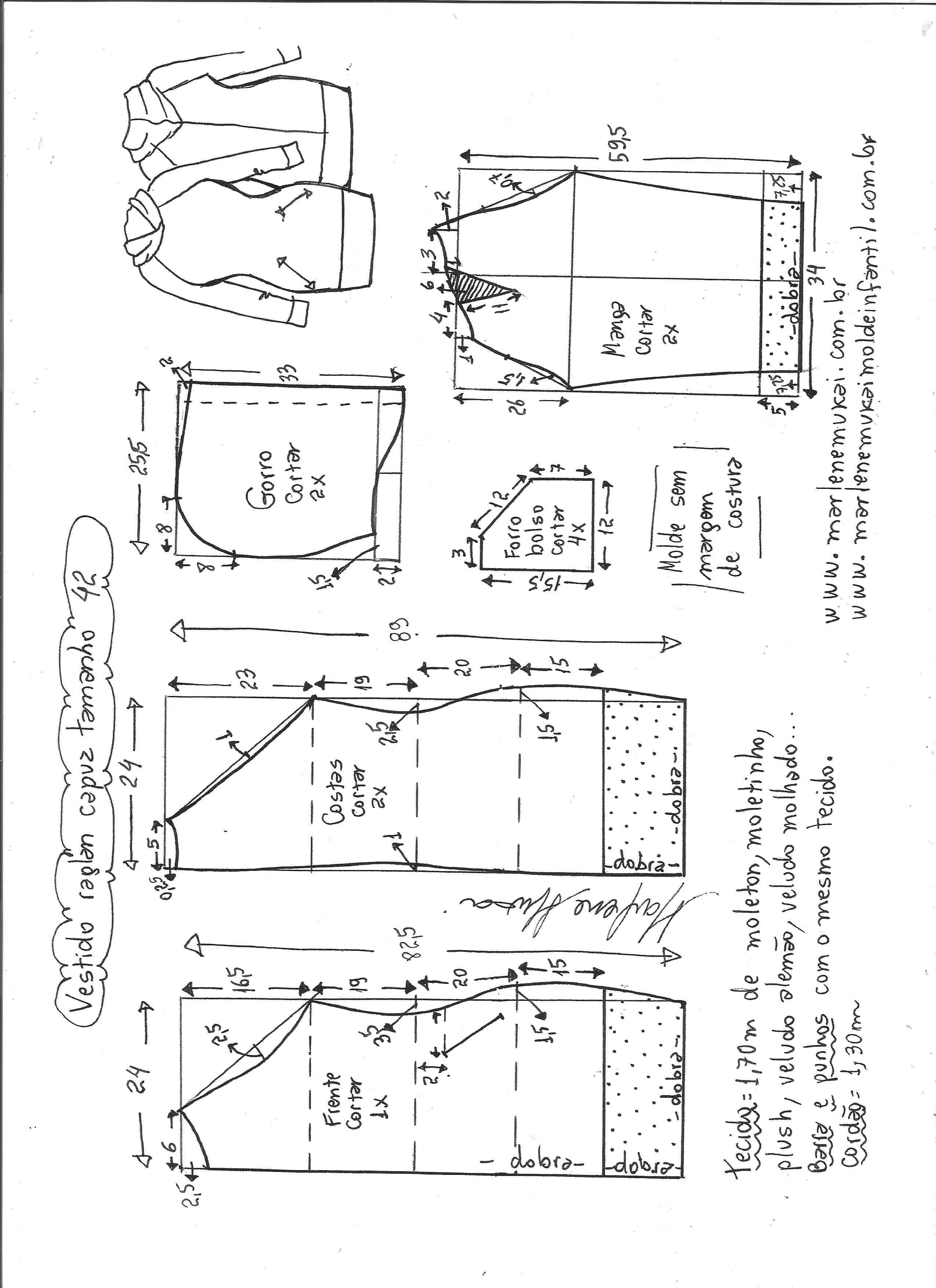 Vestido manga raglan e capuz | ,corte,patrones y costura | Pinterest ...