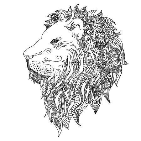 León. Estilo del tatuaje de mehndi Doodles — Vector de stock ...