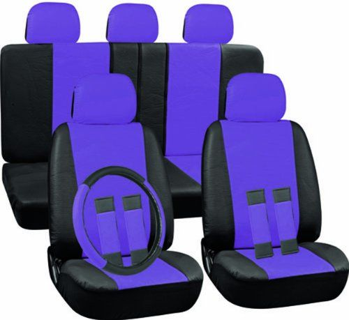 OxGord 17pc Set PU Leather / Purple & Black Auto Seat Covers Set - Airbag Compatible - Front Low Back Buckets - 50/50 or 60/40 Rear Split Bench - 5 Head Rests - Universal Fit for Car, Truck, Suv, or Van - FREE Steering Wheel Cover Oxgord,http://www.amazon.com/dp/B00BCR5ZRI/ref=cm_sw_r_pi_dp_aeYptb00B2CFT28A
