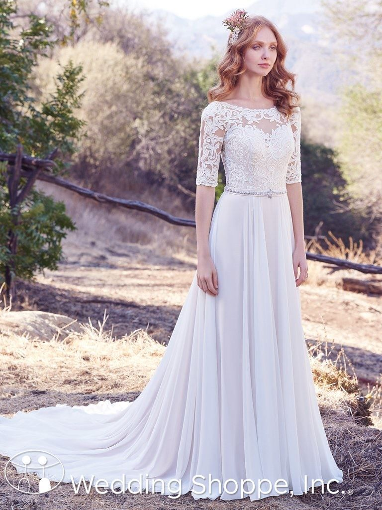 Wedding dress lace sleeves  Maggie Sottero Aline Darcy Wedding Dress bridal gown with sleeves