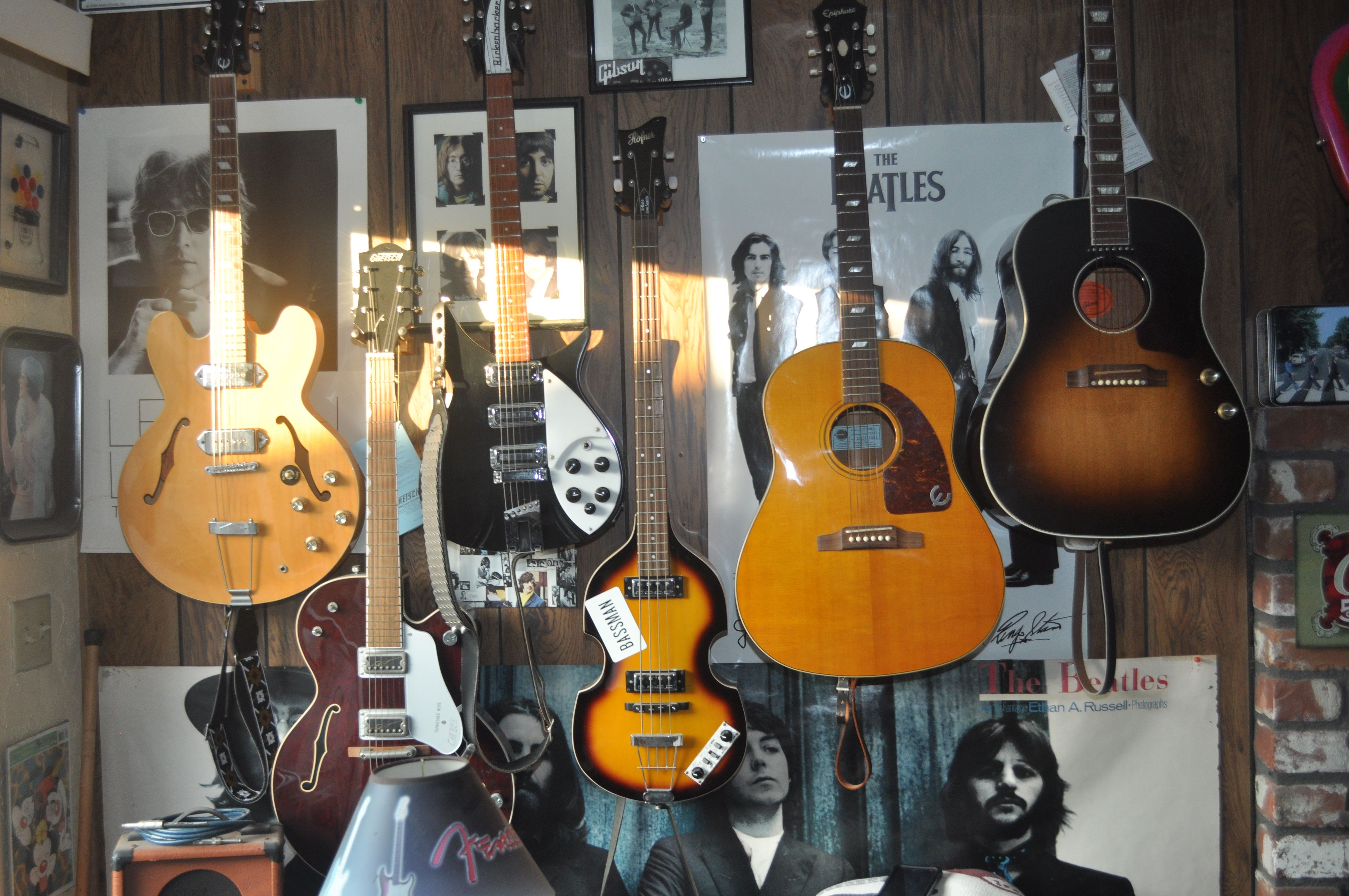 some of my beatles guitars epiphone gretsch tennessee rose