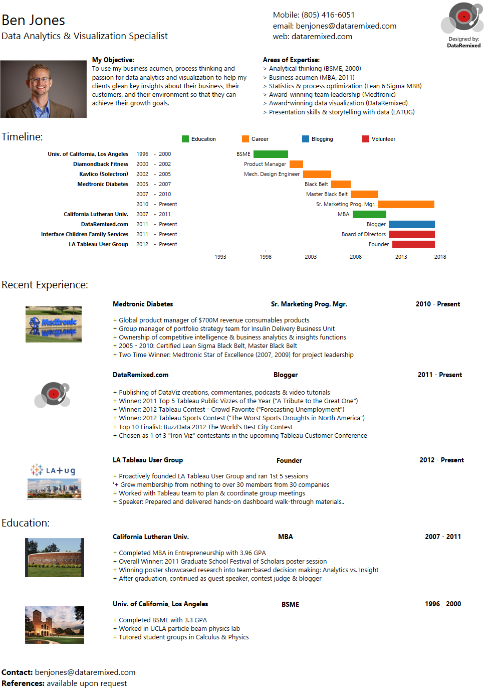 Ben Jones' infographic resume built in Tableau Public