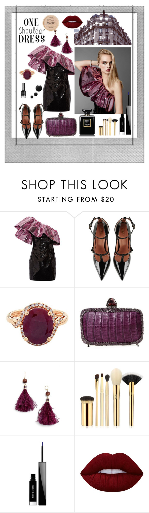 """""""one shoulder dress"""" by explorer-14673103603 on Polyvore featuring Yves Saint Laurent, RED Valentino, By Terry, Clara Kasavina, Kate Spade, tarte, Givenchy, Lime Crime, Rimmel and Polaroid"""
