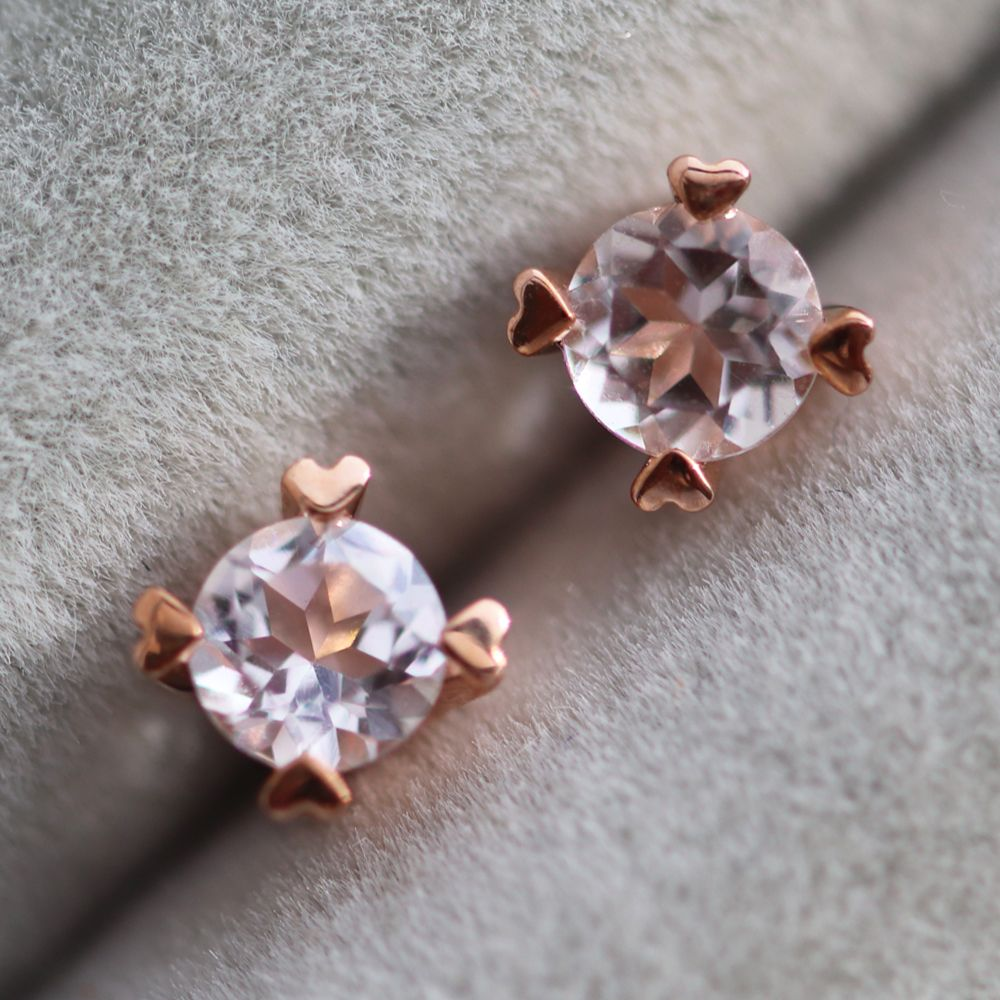 stud morganite earrings gifts goldsmiths p cushion cut rose gold