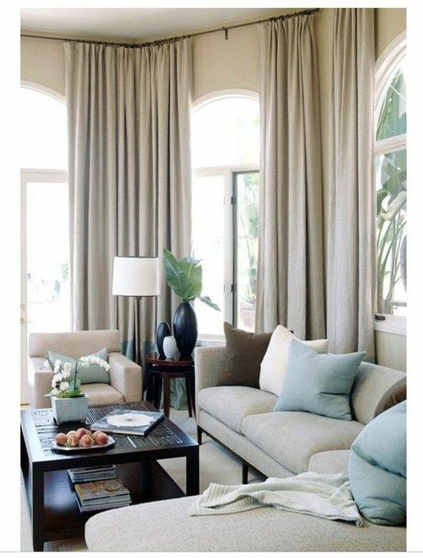 vorhänge fenster modern designer grau Gardinenideen Wohnzimmer - Wohnzimmer Grau Orange