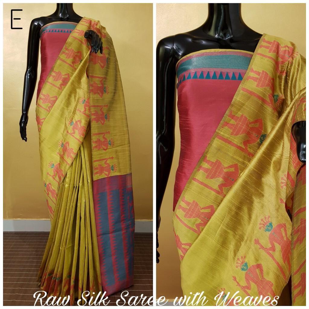 15619d88d04b0 (PID  103722) Banglori handloom raw silk saree with rich pallu and contrast  blouse piece