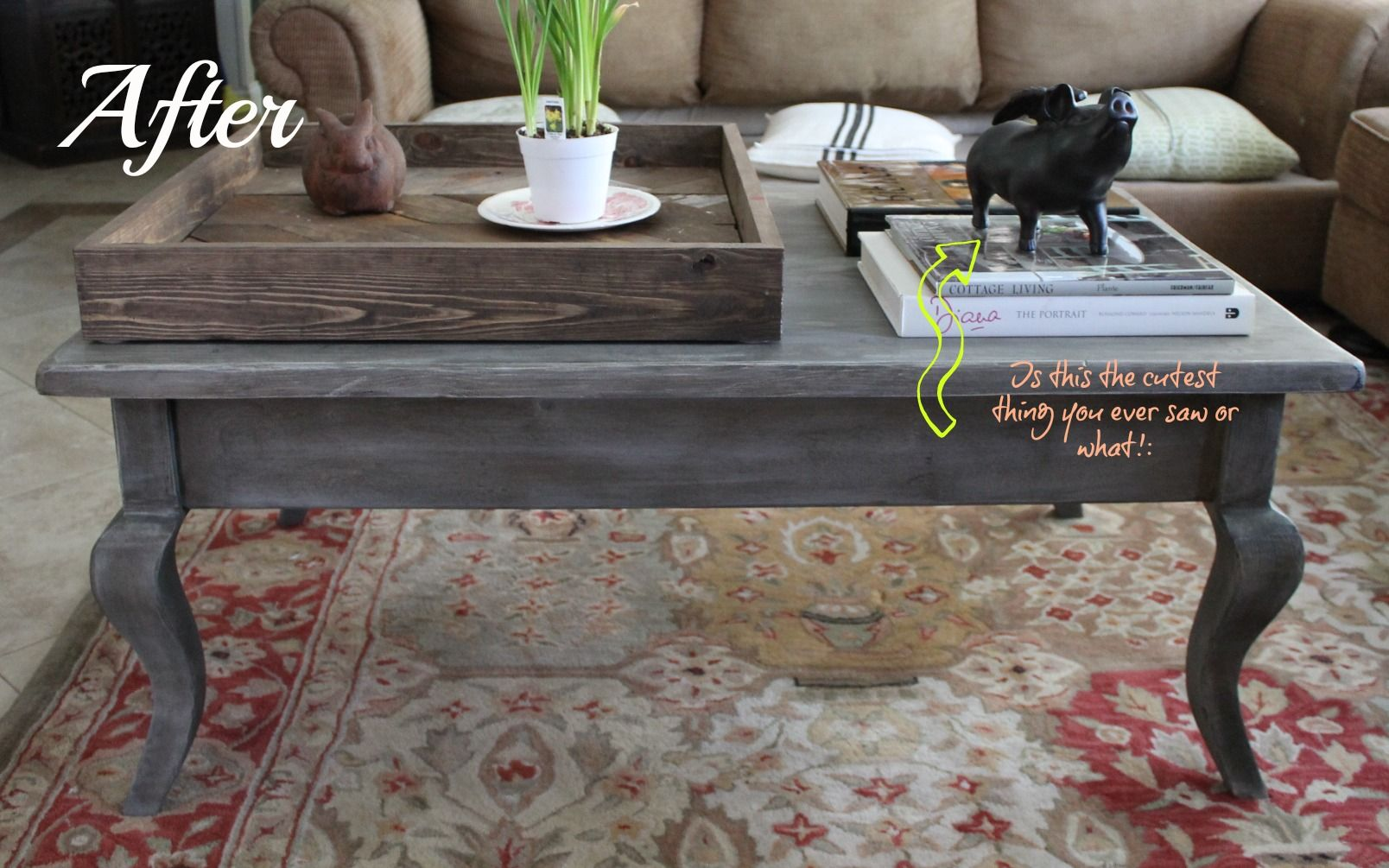 Dark grey stain grey wood stain coffee table makeover Eclectic coffee table makeovers