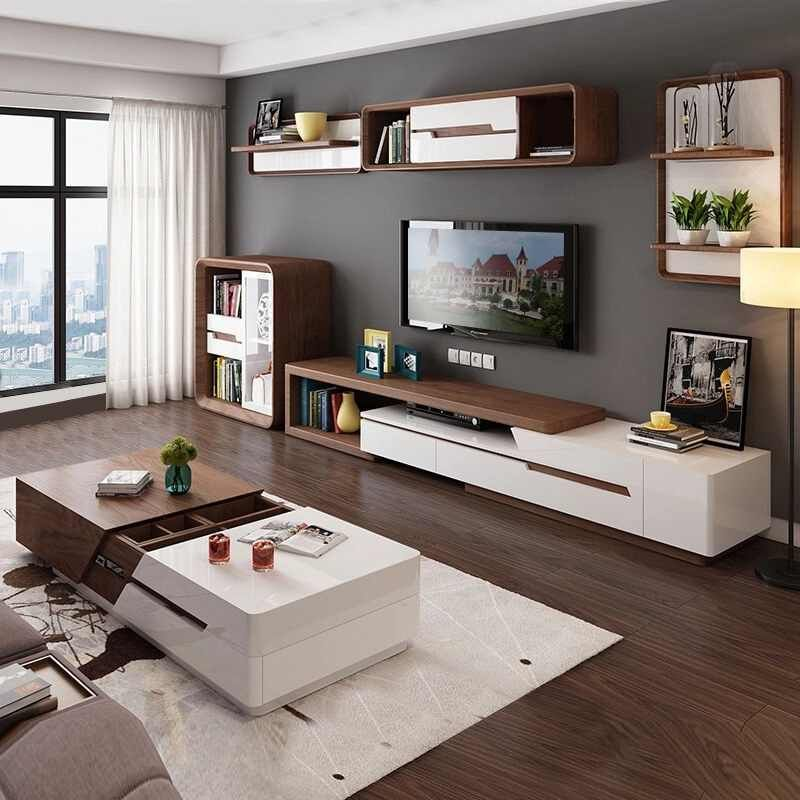 Modern Minimalist White Painted Coffee Table Tv Cabinet Combination Fashion Wood Grain Stretchable Living Room Coffee Table Coffee Tables Aliexpress Living Room Stands Living Room Decor Apartment Living Room Furniture Styles